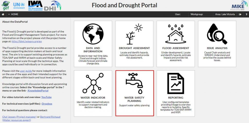 WSP supporting application in the Flood and Drought Portal